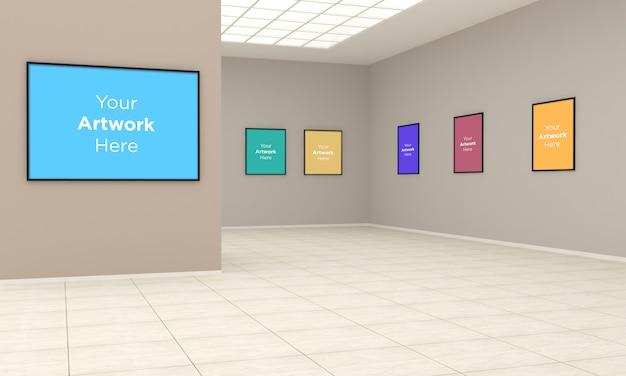 Ilustração 3d mega art gallery frames muckup