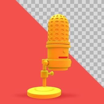 Ilustração 3d microfone minimalista e telefone celular para trajeto de recorte de podcast