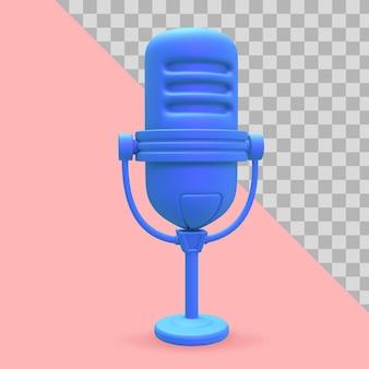 Ilustração 3d microfone para trajeto de recorte de podcast