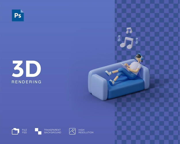 Ilustração 3d ouvindo música