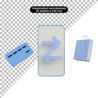 Ilustração 3d pagamento online com cartão de crédito e sacola de compras e smartphone