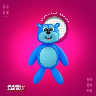 Ilustração 3d para a composição do urso azul para o dia das crianças