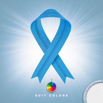 Ilustração 3d para gravata de prevenção de câncer de composição psd com cores editáveis