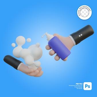 Ilustração 3d para lavagem das mãos e garrafa de sabão