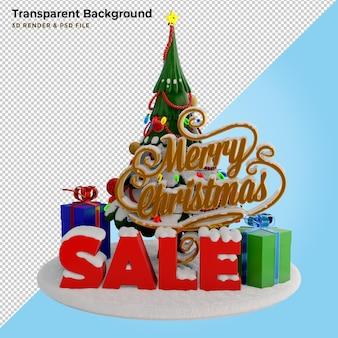 Ilustração 3d pinheiro e venda de natal