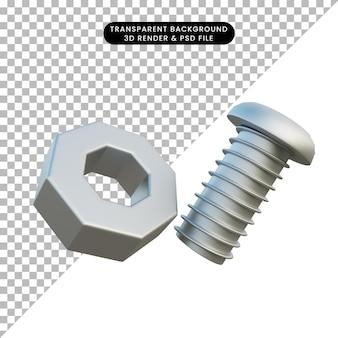Ilustração 3d porca e parafuso de objeto simples