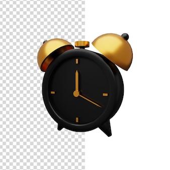 Ilustração 3d preto e dourado do despertador. ícone de despertador 3d isolado.