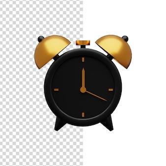Ilustração 3d preto e dourado do despertador. ilustração 3d isolada do despertador.
