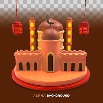 Ilustração 3d. projeto do dia muharram para o ano novo islâmico