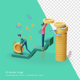Ilustração 3d render do conceito de investimento empresarial Psd Premium