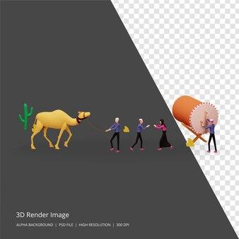 Ilustração 3d render do conceito islâmico