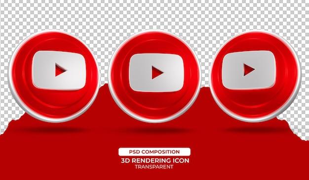 Ilustração 3d render youtube icon
