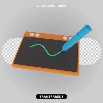 Ilustração 3d rendering graphic tablet