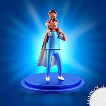 Ilustração 3d renderizada para pai herói e filho composição do dia dos pais