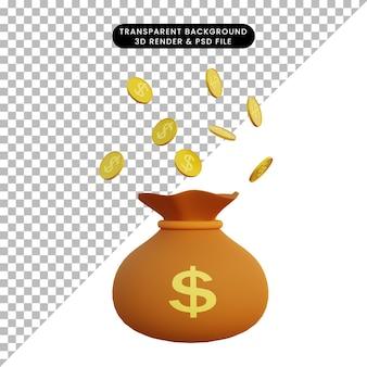 Ilustração 3d saco de dinheiro e moeda