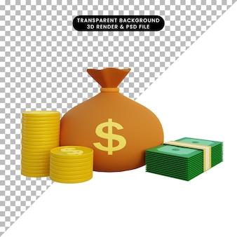 Ilustração 3d saco de dinheiro e pilha de moedas