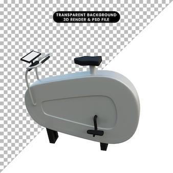 Ilustração 3d simples objeto girando bicicleta fitness