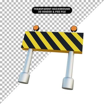 Ilustração 3d sinal de bloqueio de estrada de objeto simples