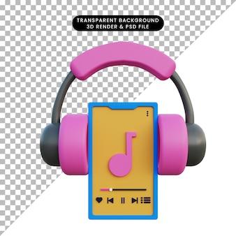 Ilustração 3d smartphone e fone de ouvido