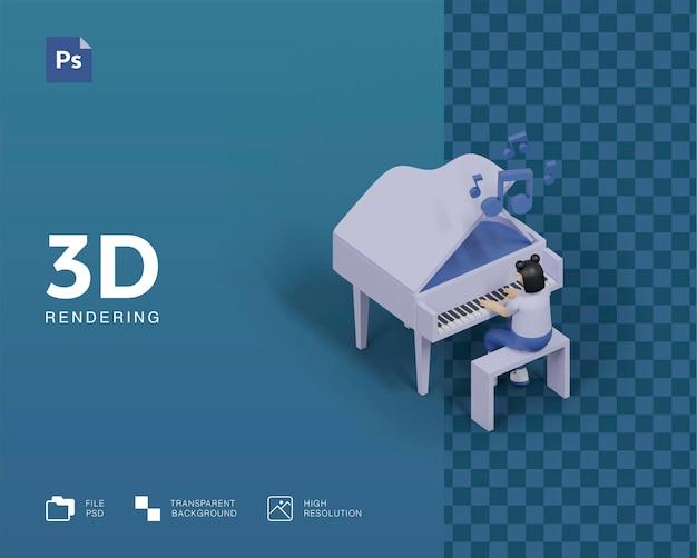 Ilustração 3d tocando piano
