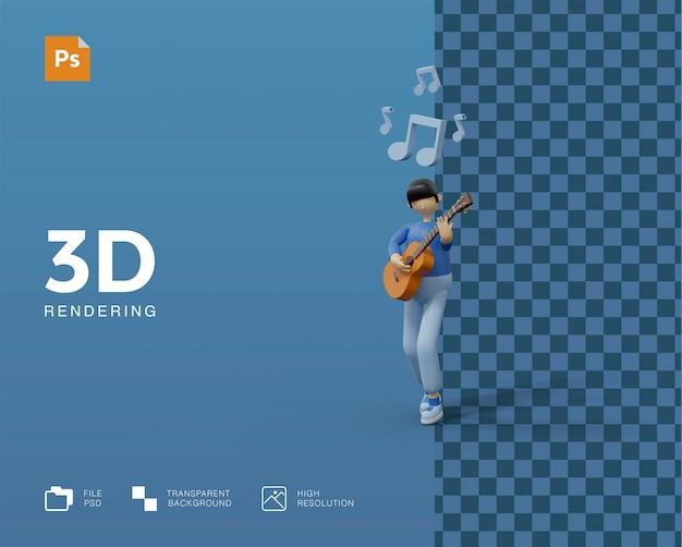 Ilustração 3d tocando violão
