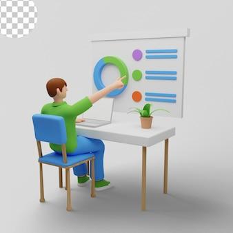 Ilustração 3d trabalhador de escritório sentado à mesa com tela de estatísticas