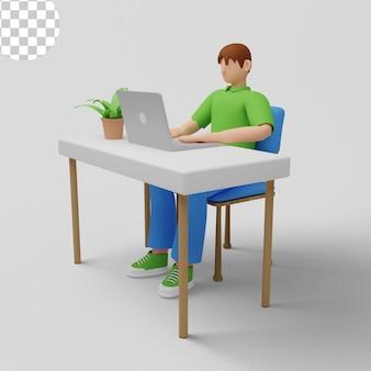 Ilustração 3d. trabalhadores de escritório sentados em mesas