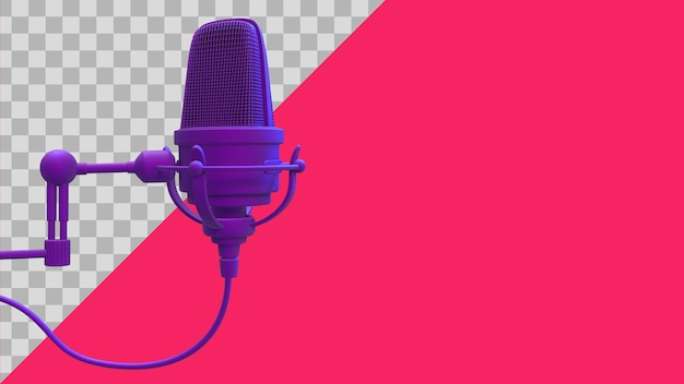 Ilustração 3d trajeto de recorte do microfone roxo