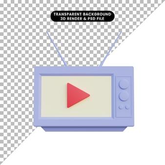 Ilustração 3d tv antiga com o ícone do botão play