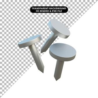 Ilustração 3d unhas de objeto simples
