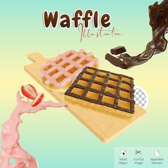 Ilustração 3d waffle com cobertura de chocolate e morango na placa de corte para elemento de mídia social