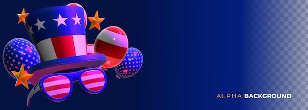 Ilustração 4 de julho - balões do dia da independência. ilustração 3d