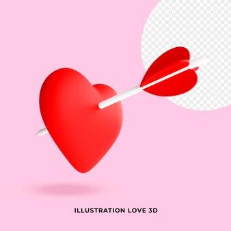 Ilustração amor 3d vermelho