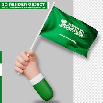 Ilustração bonita de mão segurando a bandeira da arábia saudita. dia da independência da arábia saudita. bandeira do país.