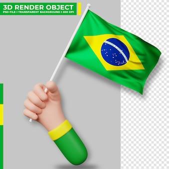 Ilustração bonita de mão segurando a bandeira do brasil. dia da independência do brasil. bandeira do país.