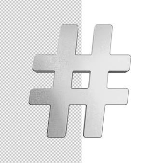 Ilustração com hashtag prata isolada