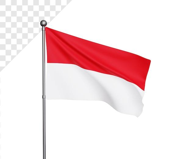 Ilustração da bandeira da indonésia 3d - dia da independência da indonésia