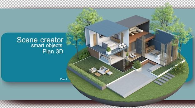 Ilustração da planta e arquitetura do interior