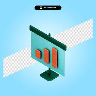 Ilustração da renderização 3d da apresentação isolada