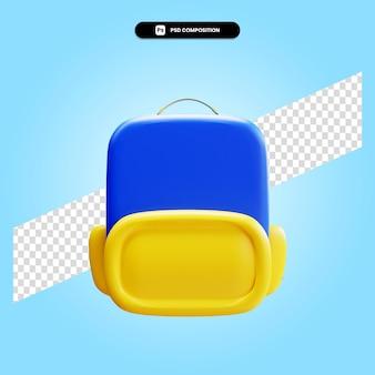 Ilustração da renderização 3d da mochila escolar isolada