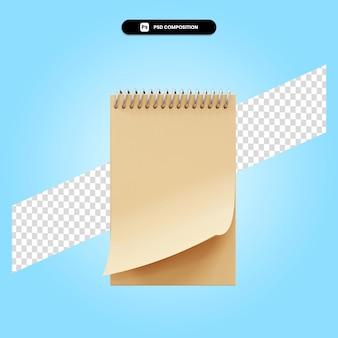 Ilustração da renderização 3d do caderno espiral isolada
