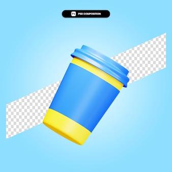 Ilustração da renderização 3d do copo para viagem isolada
