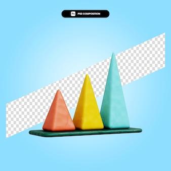 Ilustração da renderização 3d do gráfico da pirâmide isolada