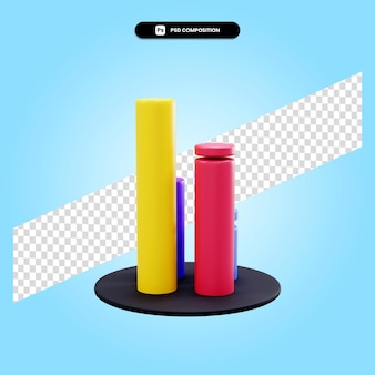Ilustração da renderização 3d do gráfico de estatística isolada