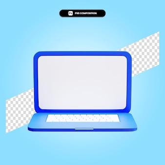 Ilustração da renderização 3d do laptop isolada