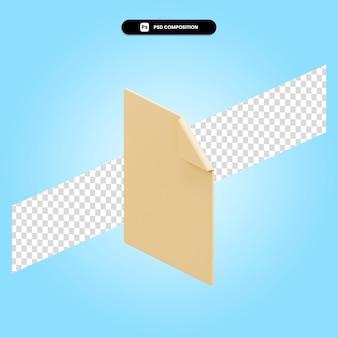 Ilustração da renderização 3d do papel em branco isolada