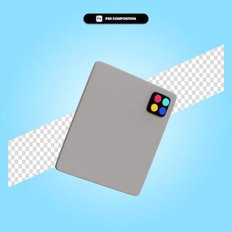Ilustração da renderização 3d do tablet isolada