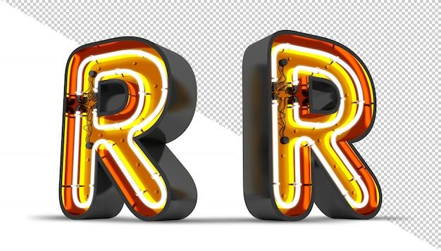Ilustração da rendição da luz de néon 3d da alfabeto da perspectiva.