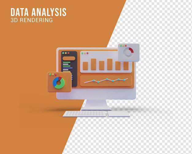 Ilustração de análise de dados, renderização em 3d