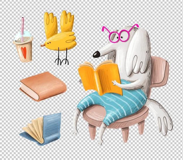 Ilustração de cachorro de leitura dos desenhos animados